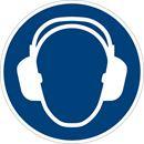 Påbudsskilt, bruk hørselvern, Ø 200 mm, plast, 10-pk