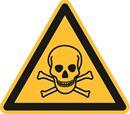 Varselskilt, fare: giftig materiale, Ø 200 mm, aluminium, 10-pk