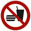 Forbudsskilt, mat og drikke forbudt, Ø 200 mm, plast, 10-pk