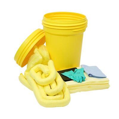 Lekkasjesett i sikkerhetstønne, 100 liter, for kjemikalier, gul