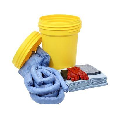 Lekkasjesett i sikkerhetstønne, 100 liter, for olje, innendørs, blå, 5 stk eller flere