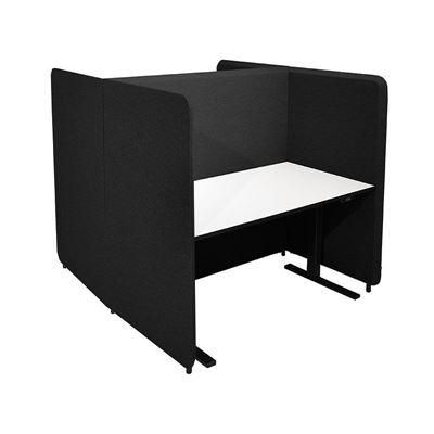 Kontorbås Domo H-form, H 1450 til bord 1400x800, inkl. ben, Salsa 41 svart