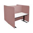 Kontorbås Domo H-form, H 1450 til bord 1600x800, inkl. ben, Salsa 54 lys rosa