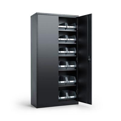 Oppbevaringsskap Toke med lagerboks Durum, BxDxH 914x406x1830 mm, svart/grå