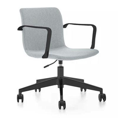 Konferansestol Dexter, med hjul og armlener, grå